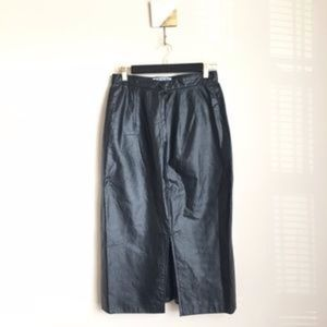 Vintage Genuine Leather Black Highwaist Midi Skirt